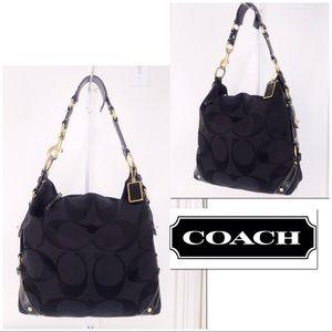 Coach Carly XL Signature Black On Black Hobo Bag